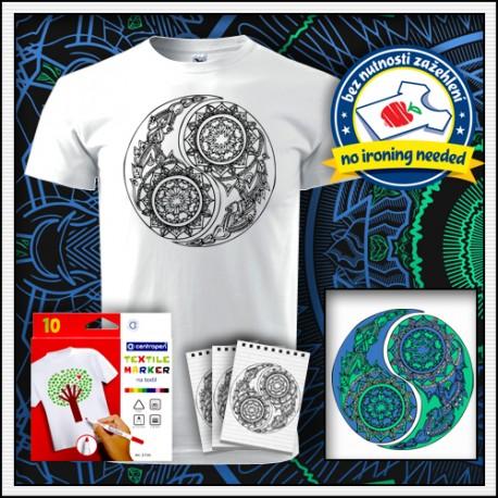 unisex tričko Jin a Jang omaľovánka na tričku