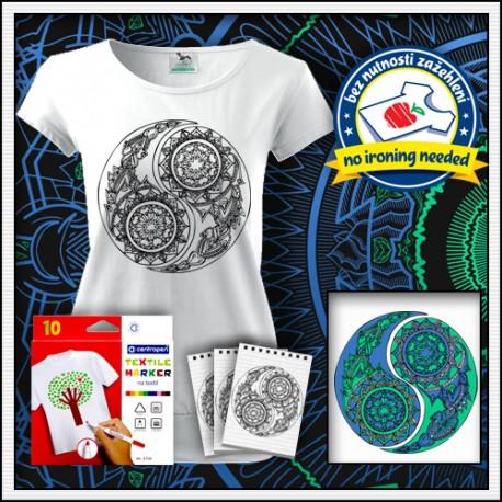Omaľovávacie antistresové tričko s patentom Jin a Jang