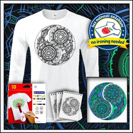 Omaľovánkové antistresové pánske dlhorukávové tričko Jin a Jang