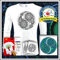 Vyfarbovacie antistresové detské 160g. dlhorukávové tričko Jin a Jang
