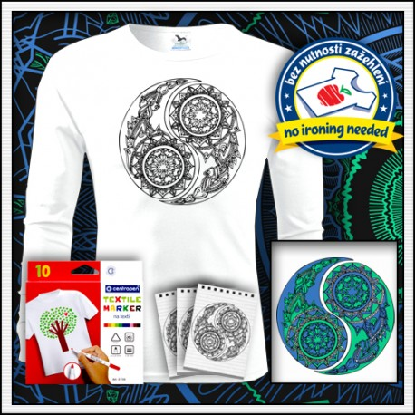 Vyfarbovacie antistresové detské dlhorukávové tričko Jin a Jang