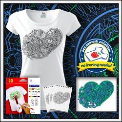 Vyfarbovacie antistresové dámske tričko Srdce omaľovánka na tričku