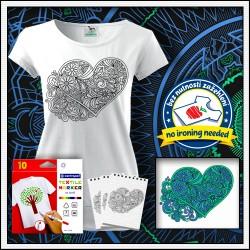 Omaľovánka Srdce na tričku s patentom