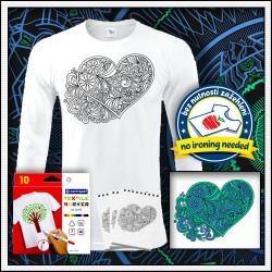 Vyfarbovacie antistresové pánske dlhorukávové tričko vymalovánka Srdce