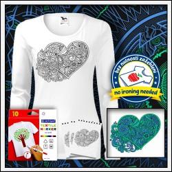 Vyfarbovacie omalovankové dámske dlhorukávové tričko Srdce