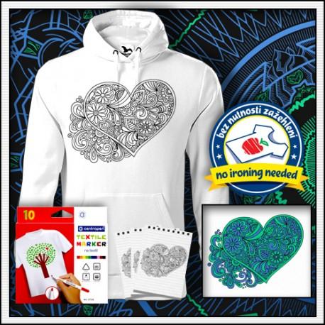 Vyfarbovacia antistresová pánska mikina s omaľovánkou Srdce