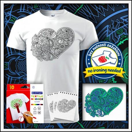 Vyfarbovacie antistresové detské tričko omaľovánka mandala Srdce