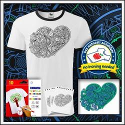 Vyfarbovacie antistresové detské dvojfarebné tričko Srdce na vyfarbovanie