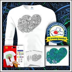 omaľovánka na tričku, vyfarbovacie antistresové detské dlhorukávové tričko Srdce