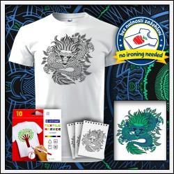 Mandala drak na vyfarbenie na unisex tričku