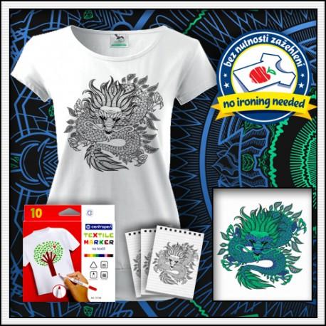 Vyfarbovacie antistresové dámske tričko s patentom omaľovánka Drak