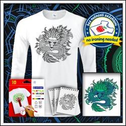Vyfarbovacie antistresové pánske dlhorukávové tričko s omaľovánkou Draka