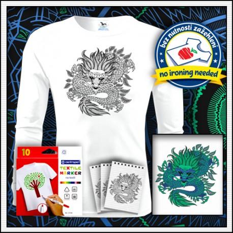 Pánske dlhorukávové tričko s omaľovánkou draka