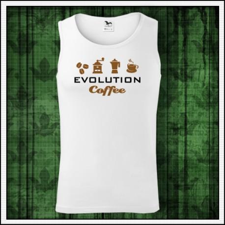 Vtipné pánske tielko Evolution Coffee, tielko s kávou