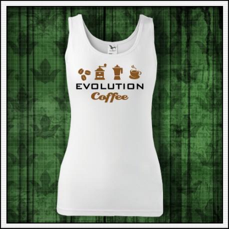 Vtipné dámske tielko Evolúcia kávy