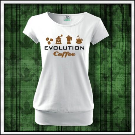 Vtipné dámske tričko s patentom Evolution Coffee