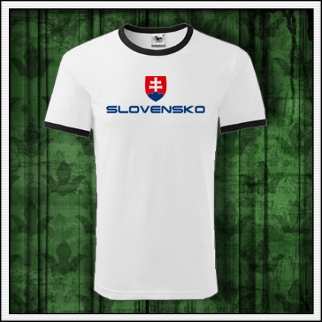 Dvojfarebné tričko so slovenským znakom, tričko pre fanúšikov Slovenska