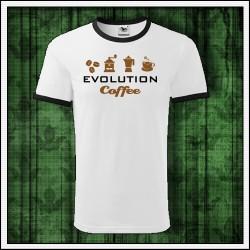 Vtipné unisex dvojfarebné tričká Evolution Coffee
