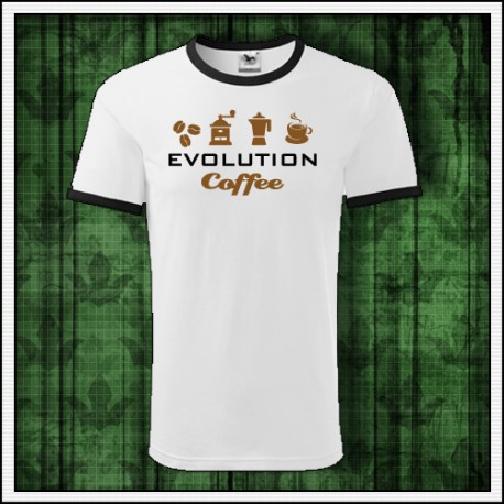 Vtipné unisex dvojfarebné tričko Evolúcia kávy