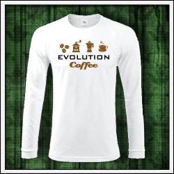 Vtipné pánske 180 g. dlhorukávové tričká Evolution Coffee
