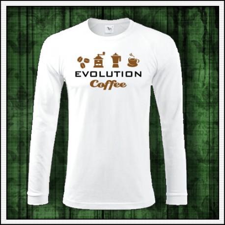 Vtipné pánske dlhorukávové tričko pre kávičkára Evolúcia kávy