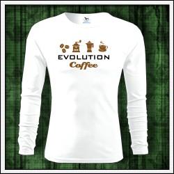 Vtipné pánske 160g. dlhorukávové tričká Evolution Coffee