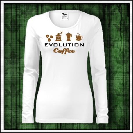 Vtipné dámske dlhorukávové biele tričko Evolution Coffee