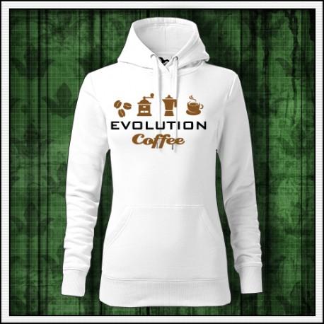 Vtipna damska jednofarebna mikina Evolúcia kávy