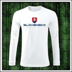 Pánske 180 g. dlhorukávové tričká Slovensko veľký znak