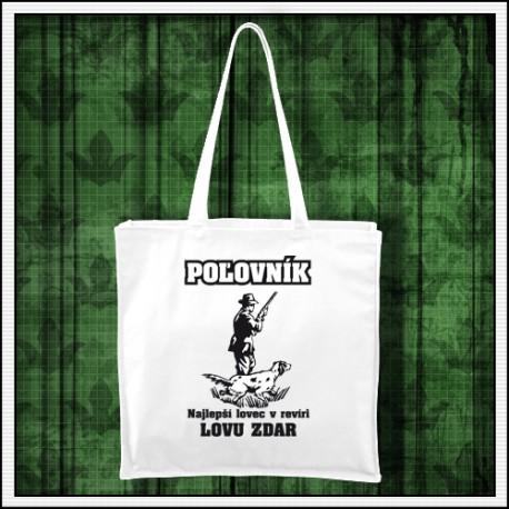 Vtipna biela taška pre Poľovníka, darček pre poľovníka