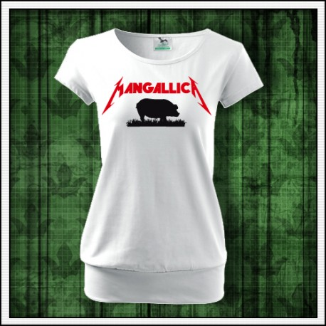 Vtipné dámske tričko s patentom Mangallica