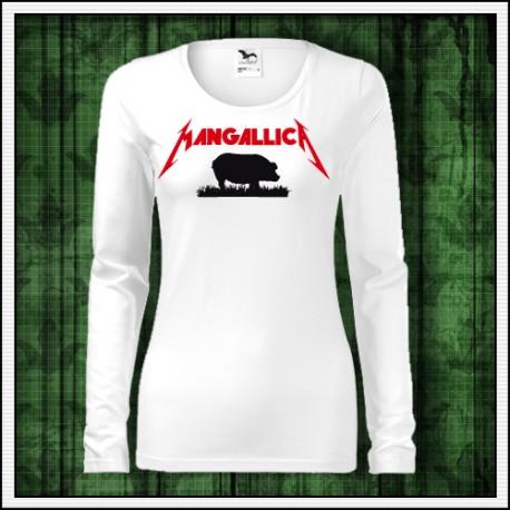 Vtipné dámske dlhorukávové tričká Mangallica