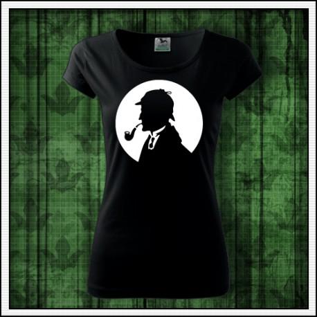 Damske tricko so svietiacou potlačou Sherlock Holmes
