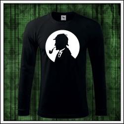 Pánske 180 g. dlhorukávové tričko so svietiacou potlačou Sherlock Holmes