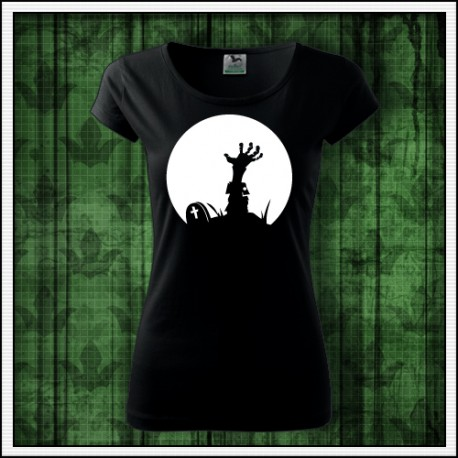 Dámske hororové fosforové tričko Zombie ruka