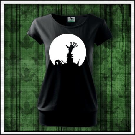 Dámske svietiace tričko s potlačou horor Zombie ruka