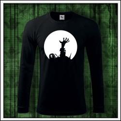 Pánske 180 g. dlhorukávové svietiace tričko Zombie ruka