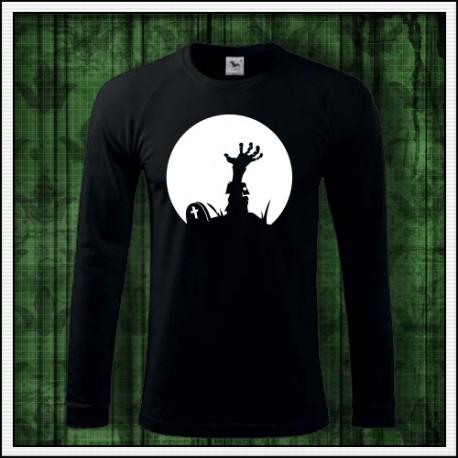 svietiace tričko fosforová potlač Zombie ruka z hrobu