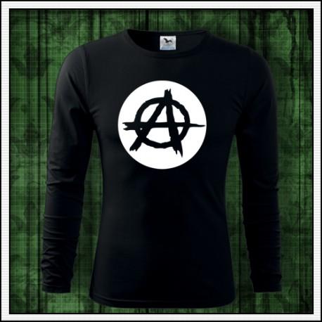 Pánske dlhorukávové tričko svietiaca potlač Anarchy