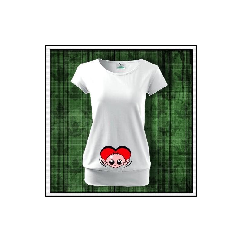 b0dab655dc6d Vtipné dámske tehotenské tričko Vykúkajúce dieťa zo srdca