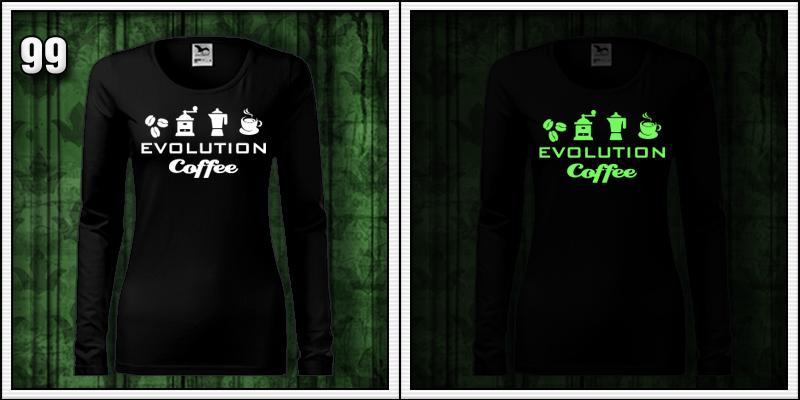 dámske tričko s dlhým rukávom svietiaca potlač Evolúcia kávy