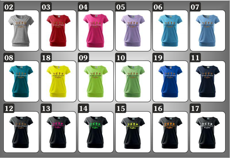 dámske farebné tričká evolution coffee