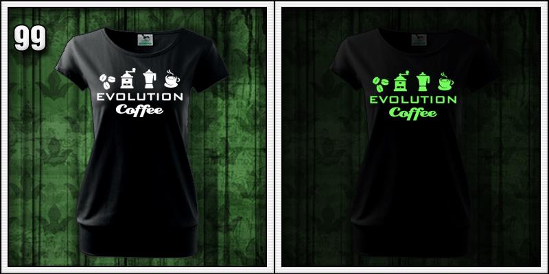 dámske tričko so svietiacou potlačou evolúcia kávy