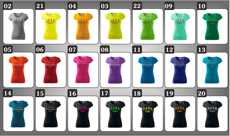 Dámske farebné tričká evolúcia kávy