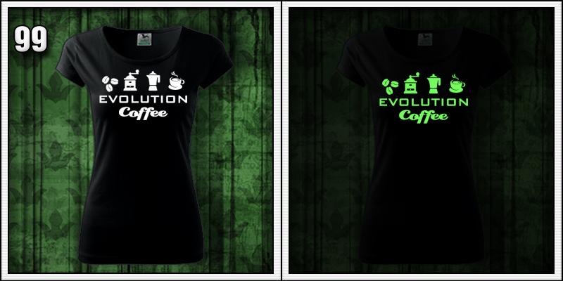 dámske svietiace tričko evolution cofe