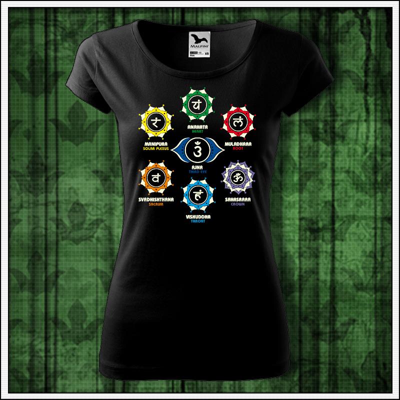 dámske čierne tričko čakry, darček pre ženu sedem čakier