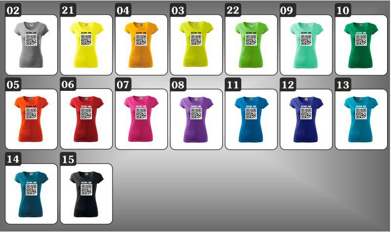 dámske farebné tričká QR kód
