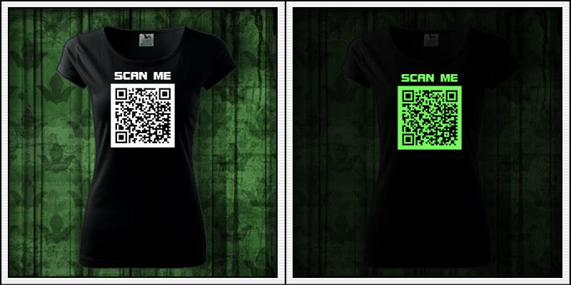 dámske svietiace tričko s QR kódom