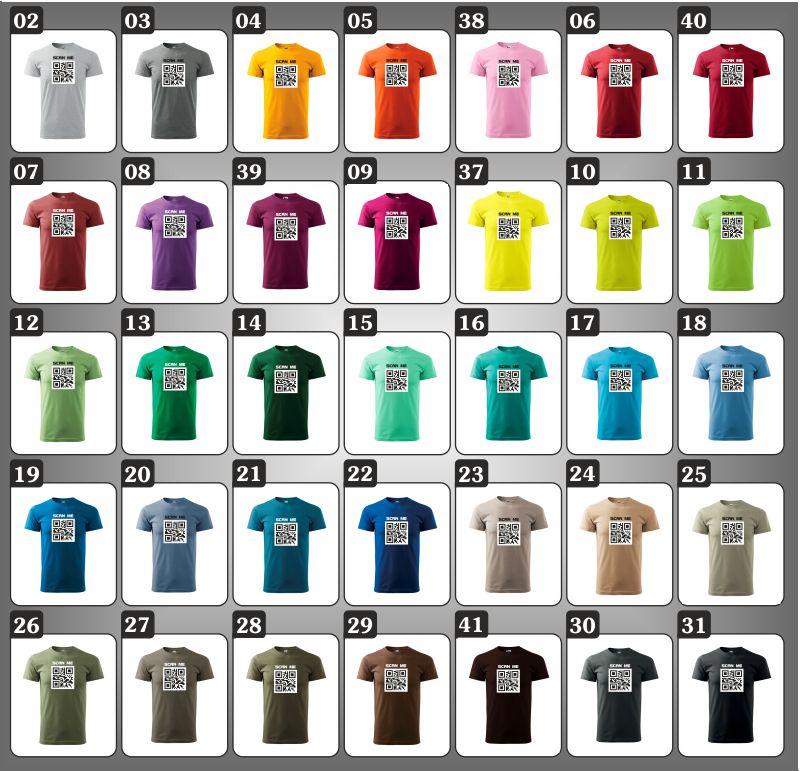 pánske vtipné farebné tričká s QR kódom humorný darček