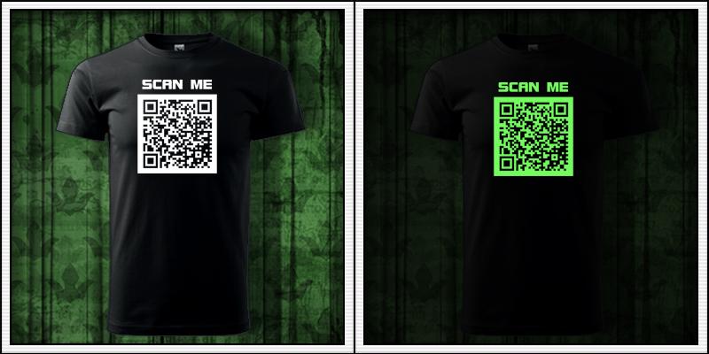 pánske vtipné svietiace tričko qr kód humorné darčeky